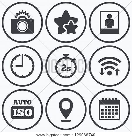 Clock, wifi and stars icons. Photo camera icon. Flash light and Auto ISO symbols. Stopwatch timer 2 seconds sign. Human portrait photo frame. Calendar symbol.