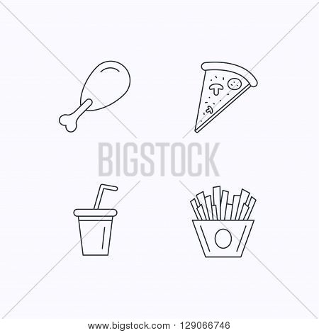 Pizza, pizza and soft drink icons. Chicken leg linear sign. Flat linear icons on white background. Vector