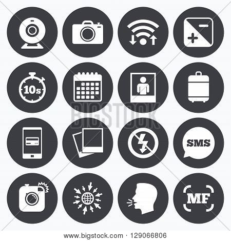 Wifi, calendar and mobile payments. Photo, video icons. Web camera, photos and frame signs. No flash, timer and portrait symbols. Sms speech bubble, go to web symbols.