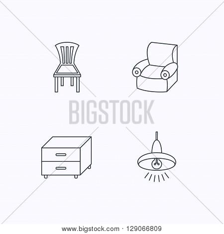 Ceiling lamp, nightstand and armchair icons. Chair linear sign. Flat linear icons on white background. Vector