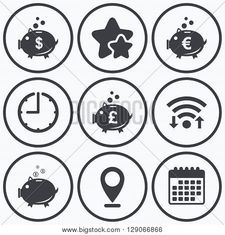 Clock, wifi and stars icons. Piggy bank icons. Dollar, Euro and Pound moneybox signs. Cash coin money symbols. Calendar symbol.