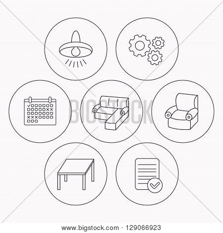 Corner sofa, table and armchair icons. Ceiling lamp linear signs. Check file, calendar and cogwheel icons. Vector