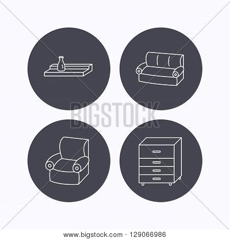 Sofa, wall shelf and armchair icons. Chest of drawers linear sign. Flat icons in circle buttons on white background. Vector