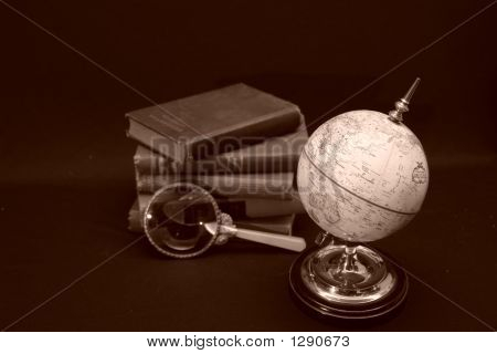 Globe With Books In Background