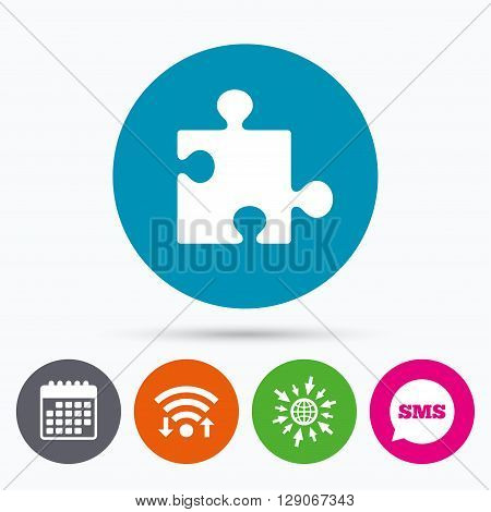 Wifi, Sms and calendar icons. Puzzle piece sign icon. Strategy symbol. Go to web globe.