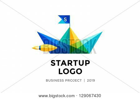 Logo for startup project with inscription Startup Logo - Business project. Logo template of colorful paper boat. Business concept and identity symbol. Startup graphic design concept. Vector Illustration