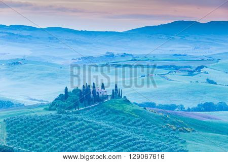 Early morning on Tuscany, Italy.