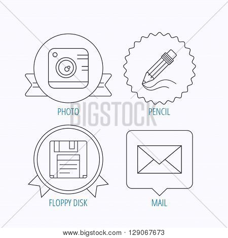 Photo camera, pencil and mail icons. Floppy disk linear sign. Award medal, star label and speech bubble designs. Vector