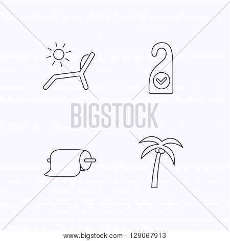 Palm tree, paper towel and beach deck chair icons. Clean room linear signs. Flat linear icons on white background. Vector