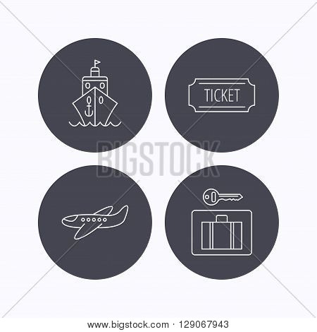 Ticket, cruise ship and airplane icons. Luggage security linear sign. Flat icons in circle buttons on white background. Vector