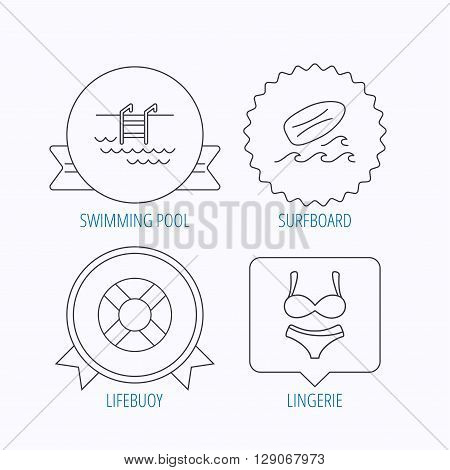 Surfboard, swimming pool and bikini icons. Lifebuoy linear sign. Award medal, star label and speech bubble designs. Vector