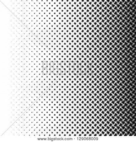 Halftone Like Element Of Crosses. Monochromatic Abstract Image.