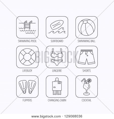 Surfboard, swimming pool and trunks icons. Beach ball, lingerie and shorts linear signs. Lifebuoy, cocktail and changing cabin icons. Flat linear icons in squares on white background. Vector