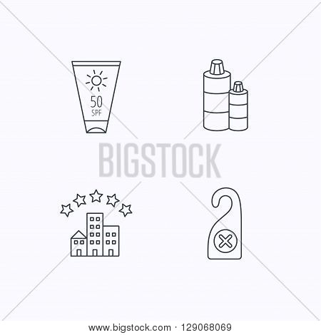 Hotel, shampoo and sun cream icons. Do not disturb linear sign. Flat linear icons on white background. Vector