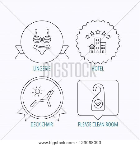 Hotel, lingerie and beach deck chair icons. Clean room linear sign. Award medal, star label and speech bubble designs. Vector