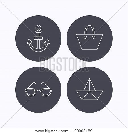 Paper boat, anchor and glasses icons. Ladies handbag linear sign. Flat icons in circle buttons on white background. Vector