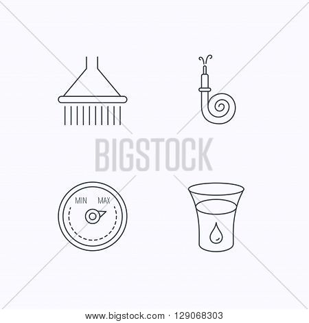 Shower, fire hose and heat regulator icons. Glass of water linear sign. Flat linear icons on white background. Vector