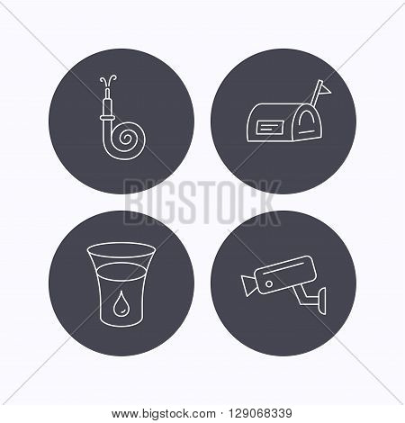 Mailbox, video monitoring and fire hose icons. Glass of water linear sign. Flat icons in circle buttons on white background. Vector