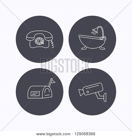 Retro phone, video camera and mailbox icons. Bath linear sign. Flat icons in circle buttons on white background. Vector