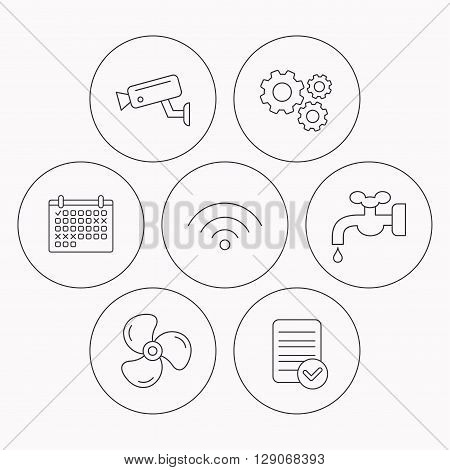 Wifi, video camera and ventilation icons. Water supply linear sign. Check file, calendar and cogwheel icons. Vector