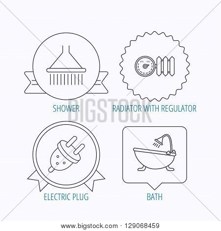 Shower, bath and electric plug icons. Radiator with regulator linear sign. Award medal, star label and speech bubble designs. Vector