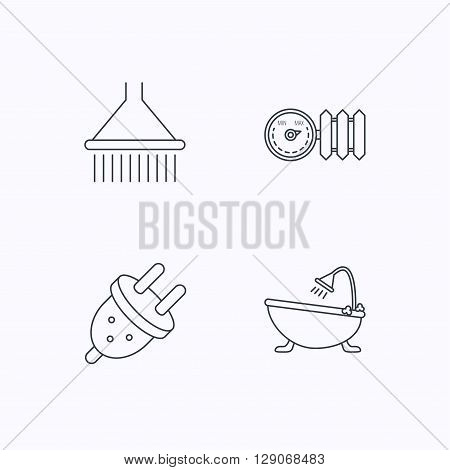 Shower, bath and electric plug icons. Radiator with regulator linear sign. Flat linear icons on white background. Vector