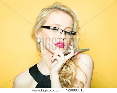 Sexy Blonde In Glasses With Phone