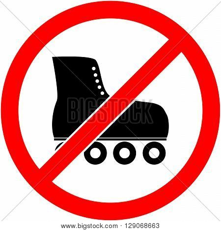 No skate rollerskate roller-skates and skating prohibited symbol. Sign indicating the prohibition or rule. Warning and forbidden. Flat design. Vector illustration. Easy to use and edit. EPS10.