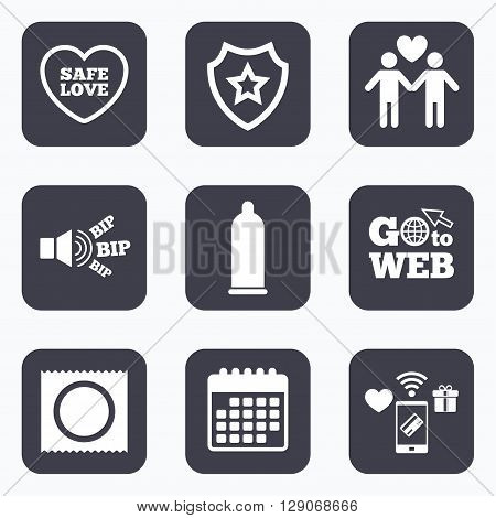 Mobile payments, wifi and calendar icons. Condom safe sex icons. Lovers Gay couple signs. Male love male. Heart symbol. Go to web symbol.