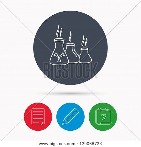 Industry building icon. Manufacturing sign. Chemical toxic production symbol. Calendar, pencil or edit and document file signs. Vector