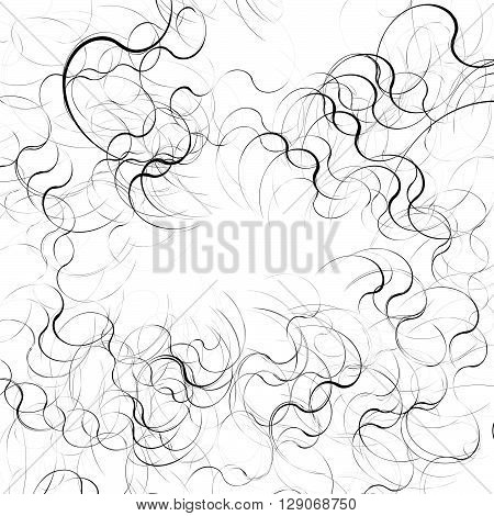 Curly, Curved Random Lines. Abstract Monochrome Texture, Pattern.