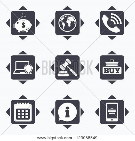 Icons with direction arrows. Online shopping, e-commerce and business icons. Auction, phone call and information signs. Piggy bank, calendar and smartphone symbols. Square buttons.