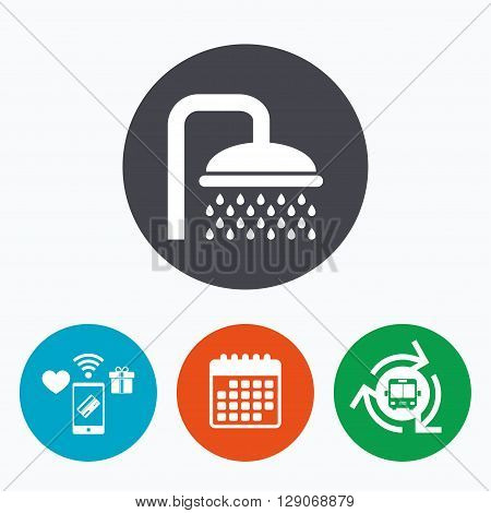 Shower sign icon. Douche with water drops symbol. Mobile payments, calendar and wifi icons. Bus shuttle.