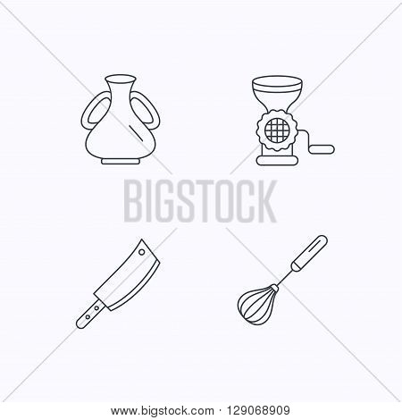 Meat grinder, butcher knife and whisk icons. Vase linear sign. Flat linear icons on white background. Vector