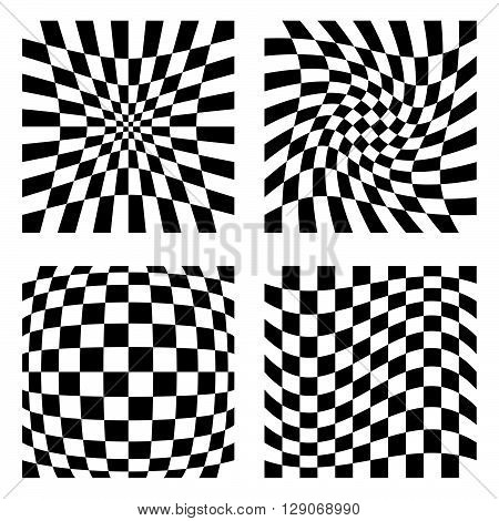 Set Of 4 Elements With Different Distortions, Squares With Deformation Effect.