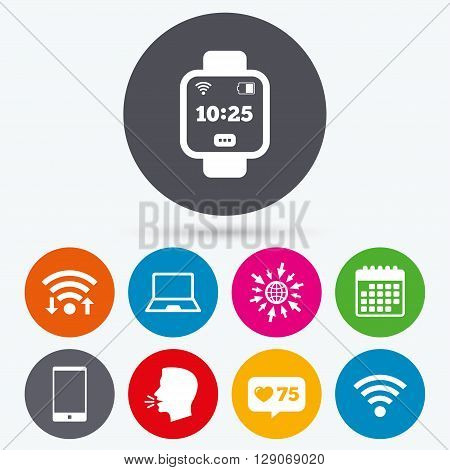 Wifi, like counter and calendar icons. Notebook and smartphone icons. Smart watch symbol. Wi-fi and battery energy signs. Wireless Network symbol. Mobile devices. Human talk, go to web.
