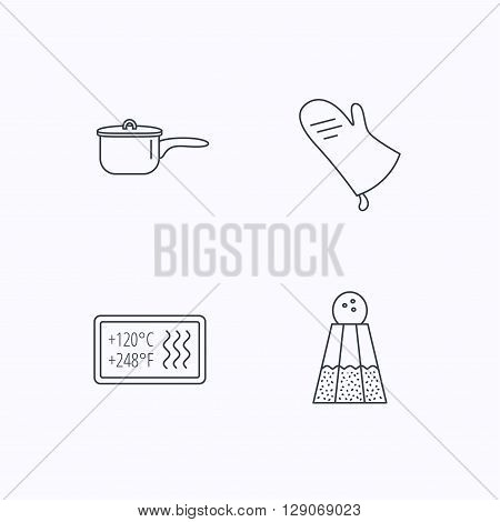 Saucepan, potholder and salt icons. Heat-resistant linear sign. Flat linear icons on white background. Vector