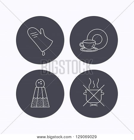 Salt, potholder and food, drink icons. Do not boil linear sign. Flat icons in circle buttons on white background. Vector