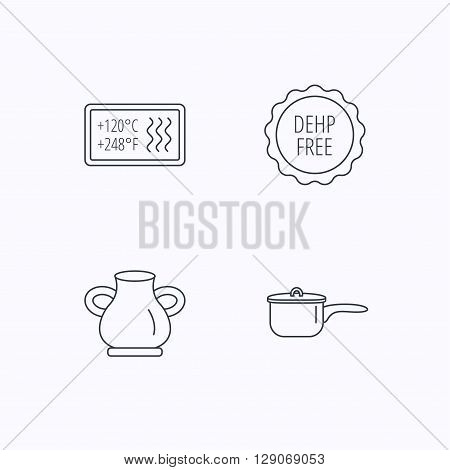 Saucepan, vase and heat-resistant icons. DEHP free linear sign. Flat linear icons on white background. Vector