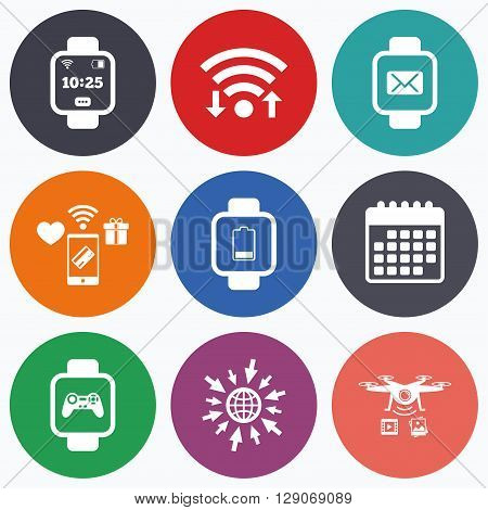 Wifi, mobile payments and drones icons. Smart watch icons. Wrist digital time watch symbols. Mail, Game joystick and wi-fi signs. Calendar symbol.