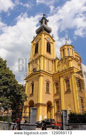 SARAJEVO BOSNIA AND HERZEGOVINA - SEPTEMBER 4 2009: Serbian orthodox cathedral of the Nativity of the Theotokos.