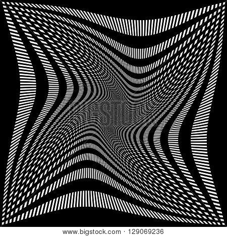 Abstract Grid, Mesh Pattern With Rotation, Spiral Effect.