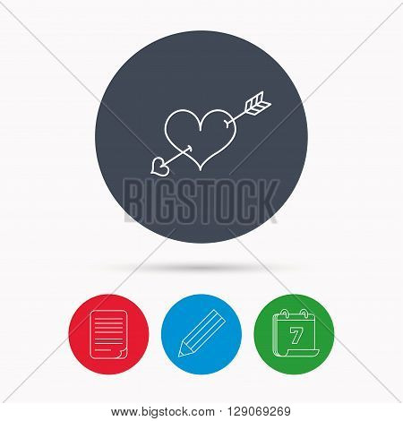 Love heart icon. Amour arrow sign. Calendar, pencil or edit and document file signs. Vector