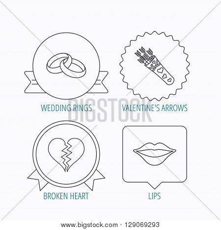 Broken heart, kiss and wedding rings icons. Valentine amour arrows linear sign. Award medal, star label and speech bubble designs. Vector