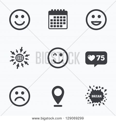 Calendar, like counter and go to web icons. Smile icons. Happy, sad and wink faces symbol. Laughing lol smiley signs. Location pointer.
