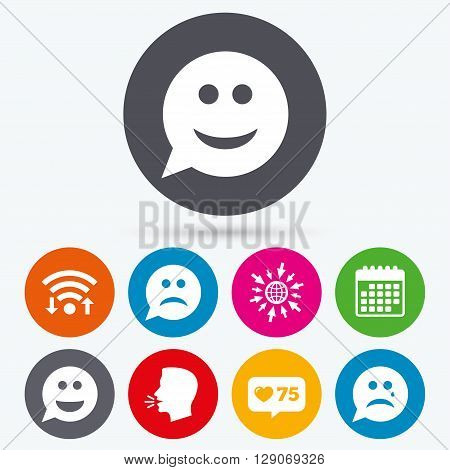Wifi, like counter and calendar icons. Speech bubble smile face icons. Happy, sad, cry signs. Happy smiley chat symbol. Sadness depression and crying signs. Human talk, go to web.