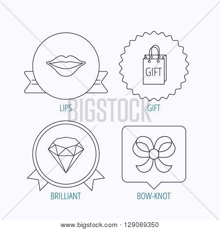 Lips kiss, brilliant and gift icons. Bow-knot linear sign. Award medal, star label and speech bubble designs. Vector