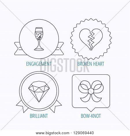 Broken heart, brilliant and engagement ring icons. Bow-knot linear sign. Award medal, star label and speech bubble designs. Vector