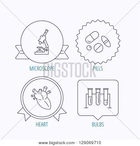 Microscope, medical pills and heart icons. Lab bulbs linear sign. Award medal, star label and speech bubble designs. Vector