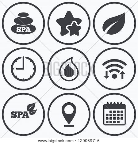 Clock, wifi and stars icons. Spa stones icons. Water drop with leaf symbols. Natural tear sign. Calendar symbol.